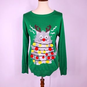 Tipsy Elves ugly Christmas sweater cat medium